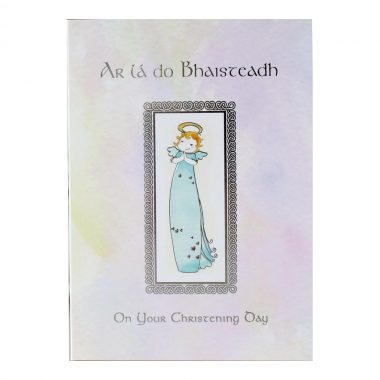 Christening Card Girl with Irish & English greeting, made in Ireland