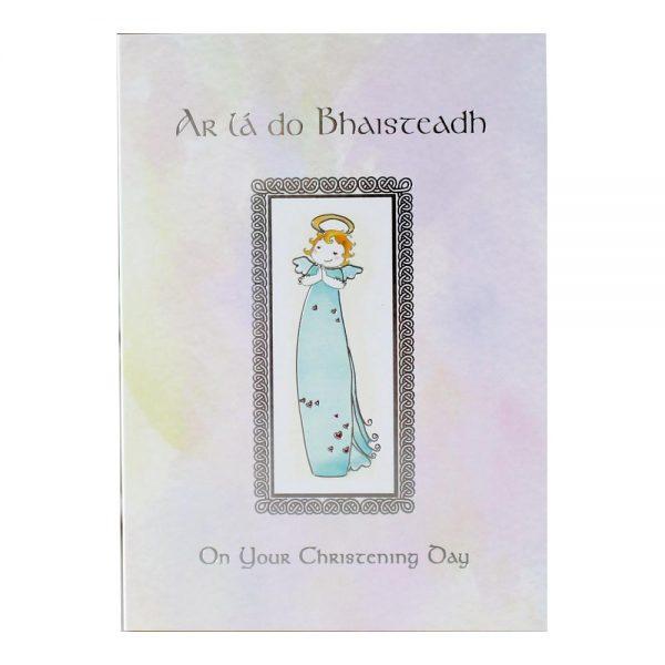 Christening Card Girl with Irish & English greeting, made in Ireland