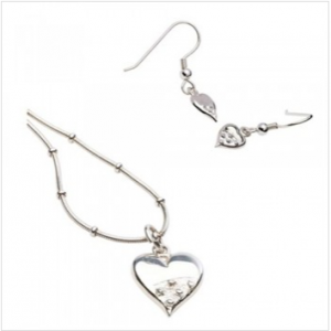 Valentines Gift Cloicin Heart Necklace and Earring Set