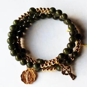 Connemara Marble Rosary Beads Bracelet