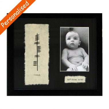 Personalised Baby Photo Frame with ancient Irish script of Ogham, handmade in Ireland by Ogham Wishes
