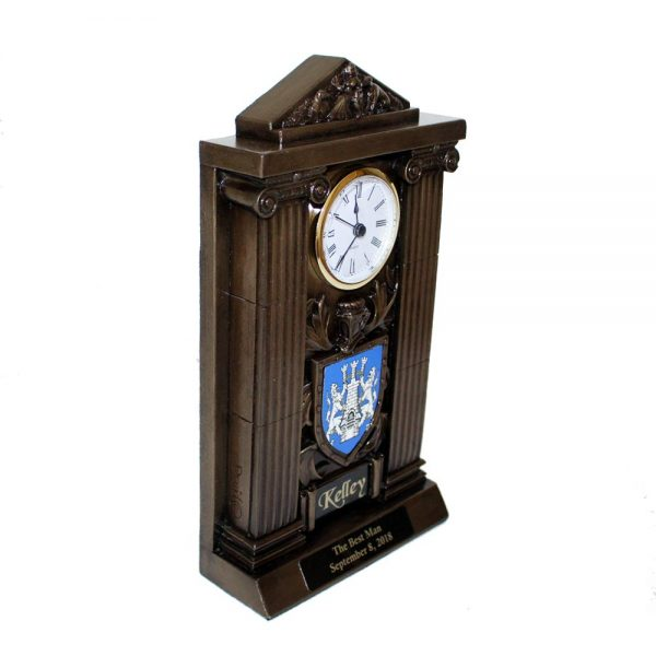 Coat of Arms Clock, perfect Best Man gift, made in Ireland, bronze clock with coat of arms