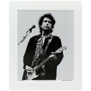Bob Dylan Mounted Photo performing at Slane Castle 1984, photographic print taken by Hot Press Photographer Colm Henry, signed