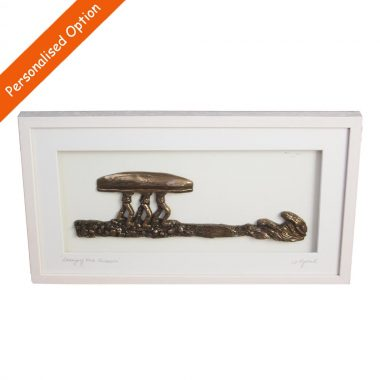 Framed Bronze Art Carrying The Currach, made in Ireland by Rynhart, option to personalise