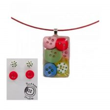 Button Jewellery, pendant and matching stud earrings, made in Ireland