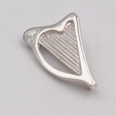 Irish Harp Brooch, made of hallmarked solid sterling, handmade by Annie Quinn Jewellery, Dublin silver