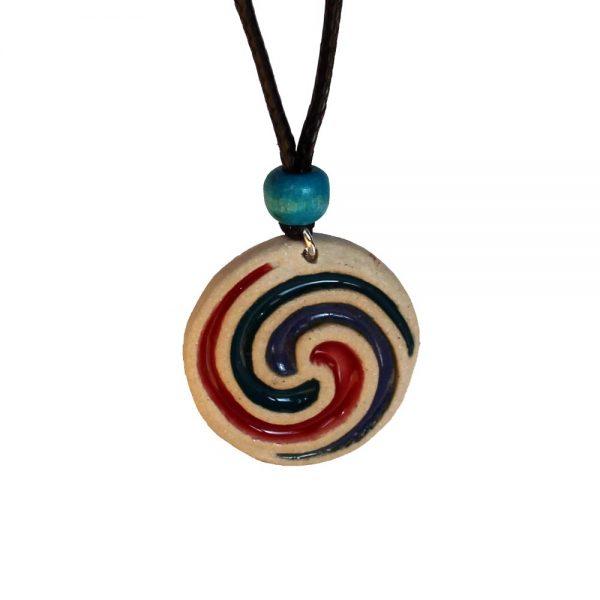 Ceramic Celtic Spiral pendant, handmade in Ireland