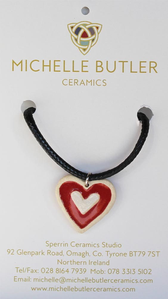 Small ceramic red heart pendant, handcrafted in Ireland