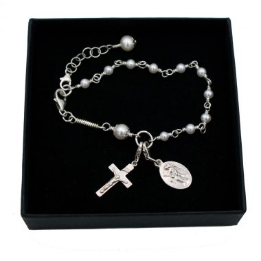 Communion Rosary Bracelet, silver with pearls, one decade of the rosary with cross and angel holy medal, made in Ireland