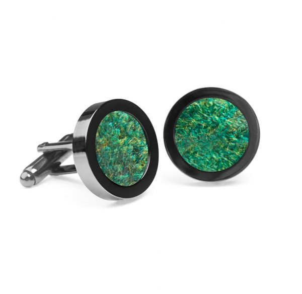 Green Donegal Tweed Cufflinks made in Ireland by Orwell and Browne using 100% Irish wool