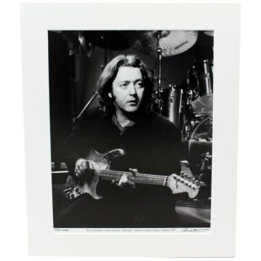 Rory Gallagher 'Defender' Photo, rehearsing in Dublin 1987, taken and signed by Hot Press Photographer Colm Henry