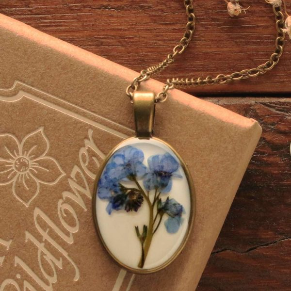 Irish Forget-Me-Not Pendant made with real flower from Ireland