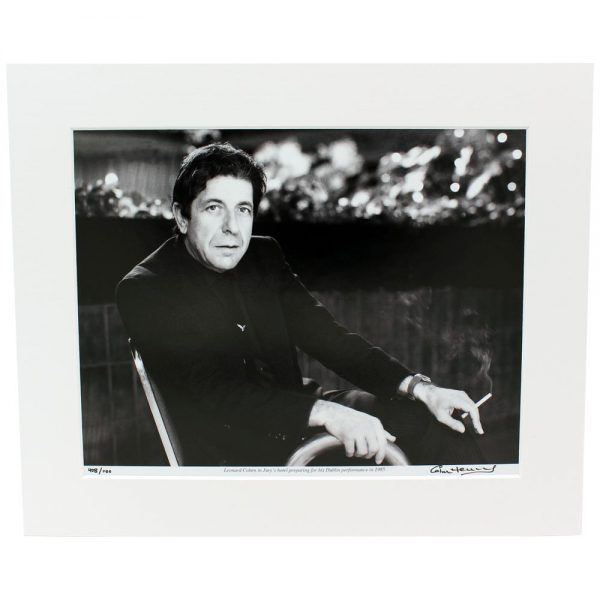 Leonard Cohen Mounted Photo, photographic print by Colm Henry, Former Hot Press Photographer, of Lenard Cohen in Dublin in 1985