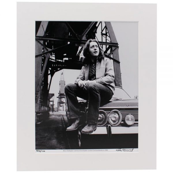 Rory Gallagher Photo, Cork in 1981 with his Ford Zepher Car, taken and signed by Colm Henry, former Hot Press Photographer