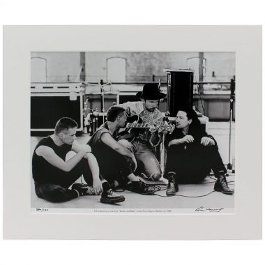U2 Rattle & Hum, rehearsing at the Point Depot, Dublin 1988, photographic print, taken & signed by Colm Henry, former Hot Press Photographer