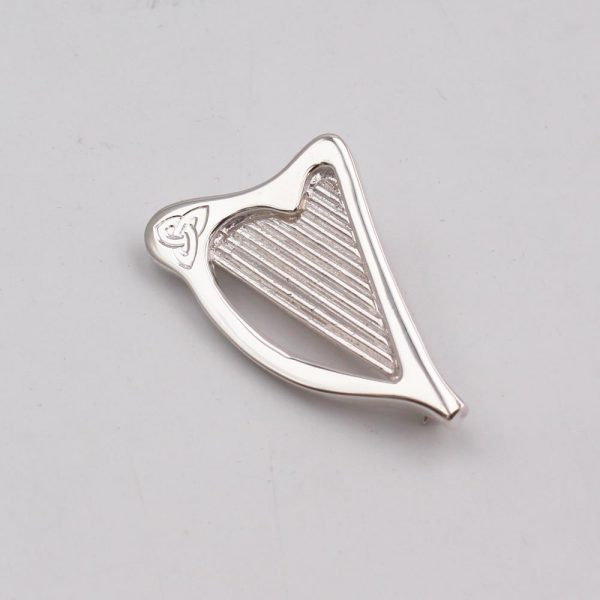 Irish Harp Lapel Pin silver jewellery for men, handmade in Ireland by Annie Quinn Jewellery, Dublin