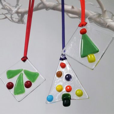 glass hanging Christmas Decorations, set of 3 Christmas Tree Decorations, handmade in Ireland by Kings Forge