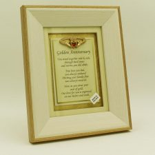 Golden Wedding Anniversary Poem with Claddagh set in a wooden frame, made in Ireland