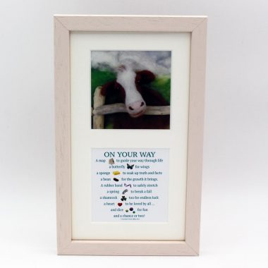 Lovely Good Luck verse 'On Your Way, image & verse prints framed, made in Ireland