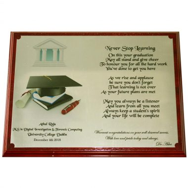 Graduation Plaque, engraved brass plate on wood, made in Ireland