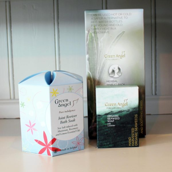 Joint Reviver Gift Set, bath soak, heat pack and soap, made in Ireland by Green Angel