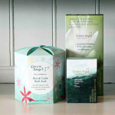 Green Angel Rest & Calm Gift Set, perfect for men and women. Sea Salt bath soak, seaweed & lavender soap & herbal eye cushion. By Green Angel, made in Dublin, Ireland