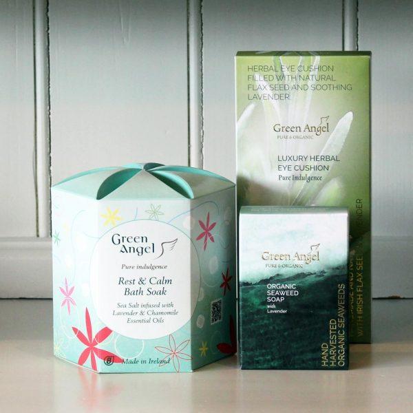 Green Angel Rest & Calm Gift Set, perfect for men and women. Sea Salt bath soak, seaweed & lavender soap & herbal eye cushion. By Green Angel, made in Dublin, Ireland