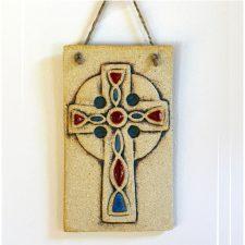 Celtic Cross wall hanging, ceramic Irish gifts made in Ireland