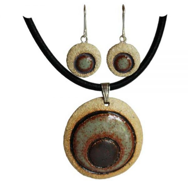 Ceramic Jewellery Set, pendant and earrings, handcrafted in Ireland