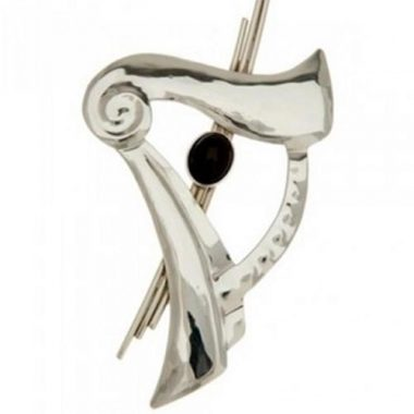 Irish harp brooch with oynx stone, handmade in Ireland