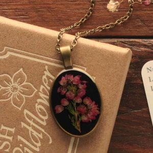 Irish Heather Pendant, made in Ireland with a real sprig of Irish Heather