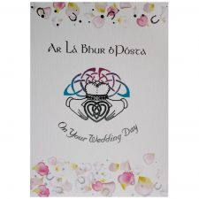 Irish wedding day greeting card with English and Irish greeting