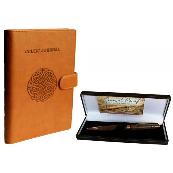 Journal and Pen Gift Set, Celtic Journal and Bog Oak Pen,made in Ireland