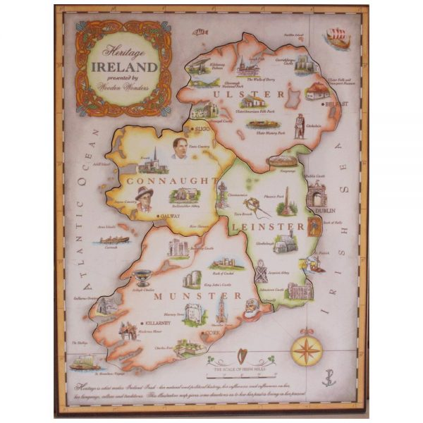 Ireland jigsaw with the history of Ireland under each jigsaw piece, made in Ireland
