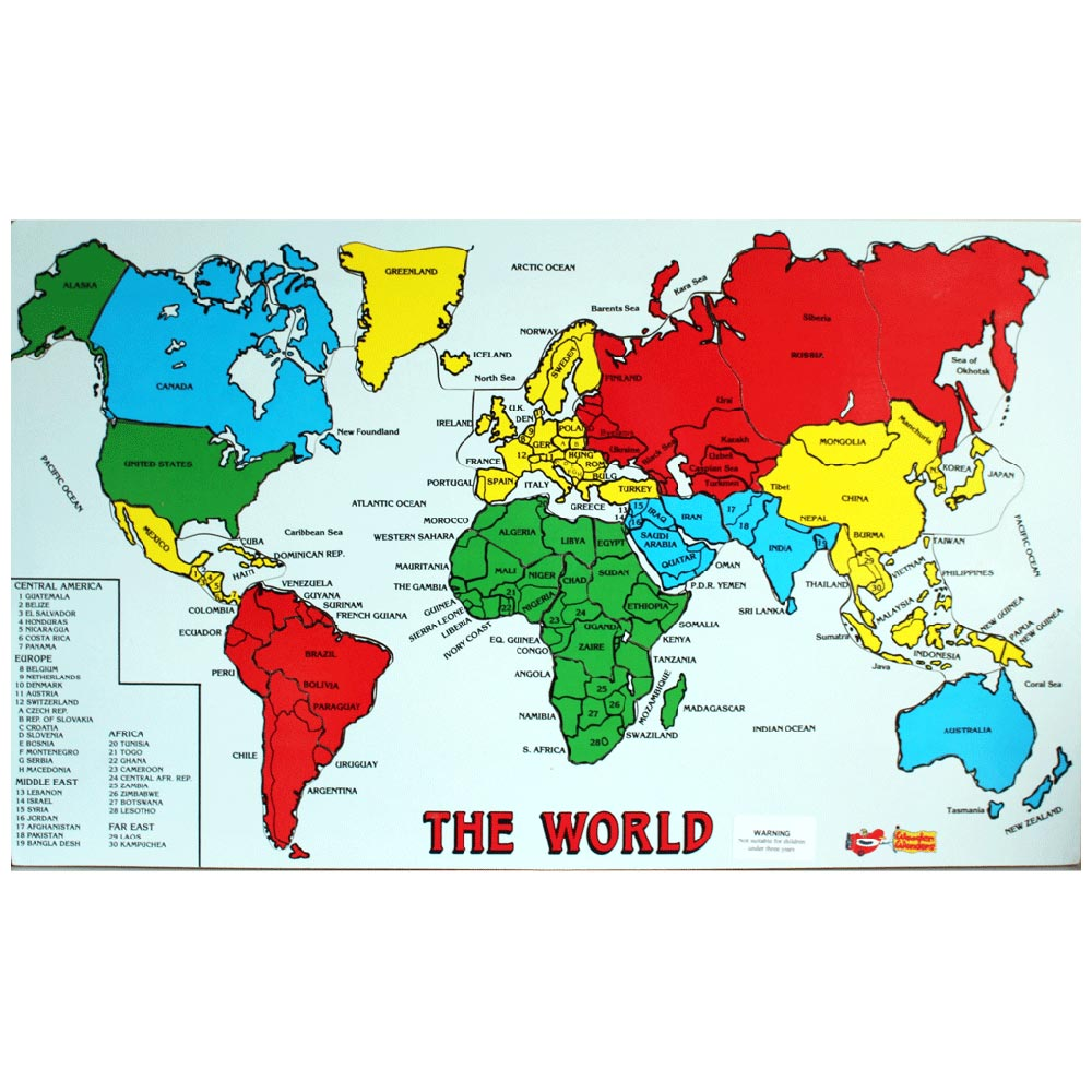 World Map Of Ireland.Map Of The World Wooden Jigsaw
