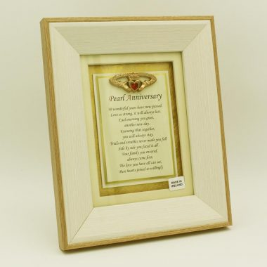 Pearl Anniversary Poem in a lovely wooden frame, pearl wedding anniversary gift made in Ireland