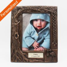 Personalised Bronze Baby Photo Frame, bronze frame by Druid Crafts, made in Ireland