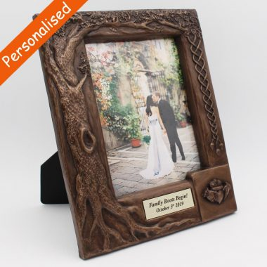 Personalised Claddagh Wedding Photo frame, made from bronze by Druid Crafts Ireland