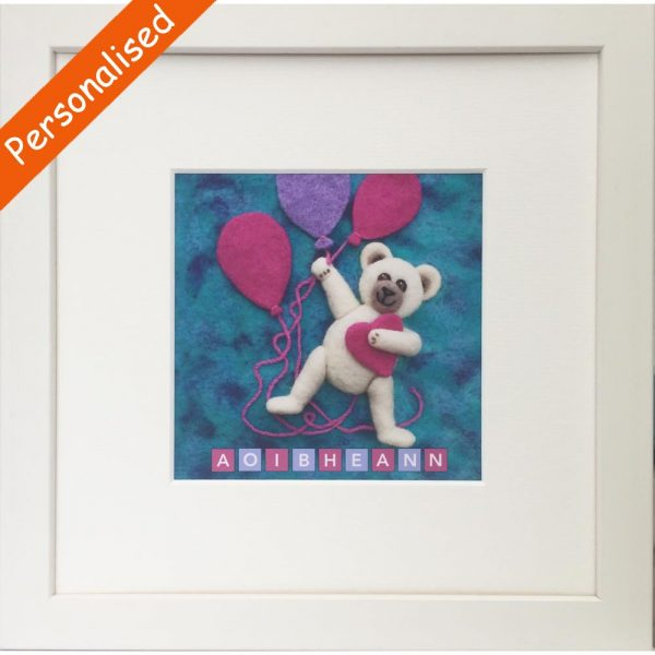 Teddy for Girls Frame, personalised with child's name, made in Ireland