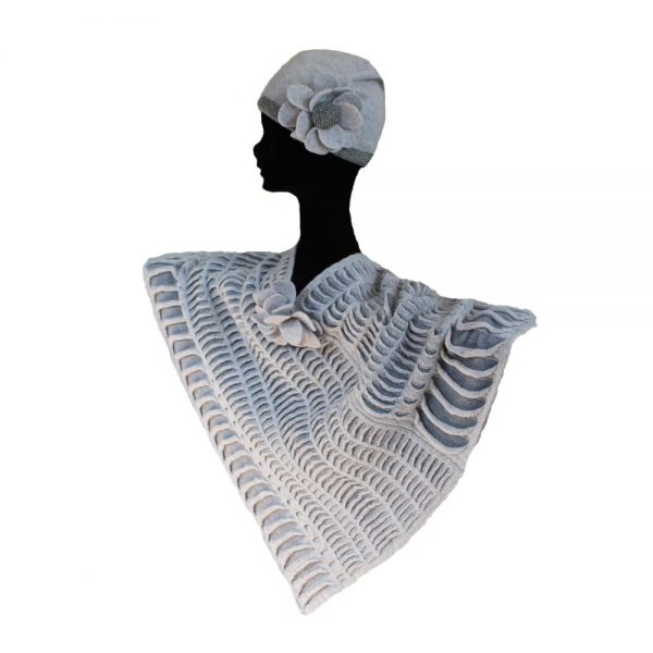 Floral Poncho & Beanie, made in Ireland by McConnell Knits, 100% lambswool