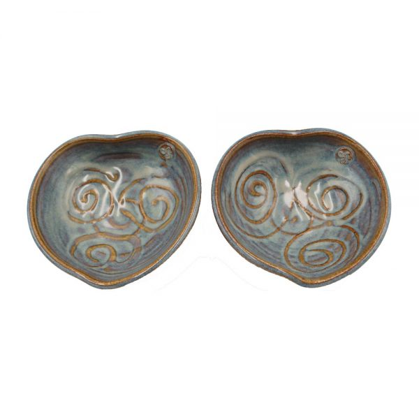 Two small heart bowls handmade by Castle Arch Pottery, Ireland