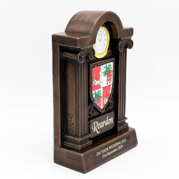 Family crest of arms clock