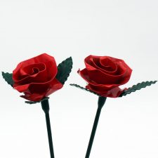 Eternity Red Roses, two roses handmade from steel, indoor use, made in Ireland