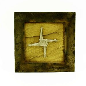 St Brigid's Cross Plaque, handmade in Ireland with limestone and contrasting bronze and pewter