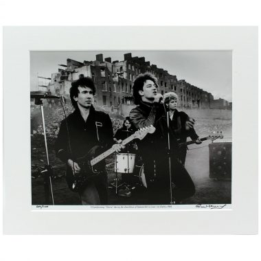 U2 Gloria mounted photo, taken by Colm Henry, Hot Press Photographer, during the demolition of Summerhill, Dublin 1981