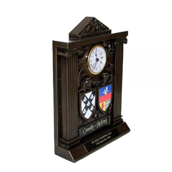Bronze clock with both coats of arms, wedding gifts or wedding anniversary gifts made in Ireland