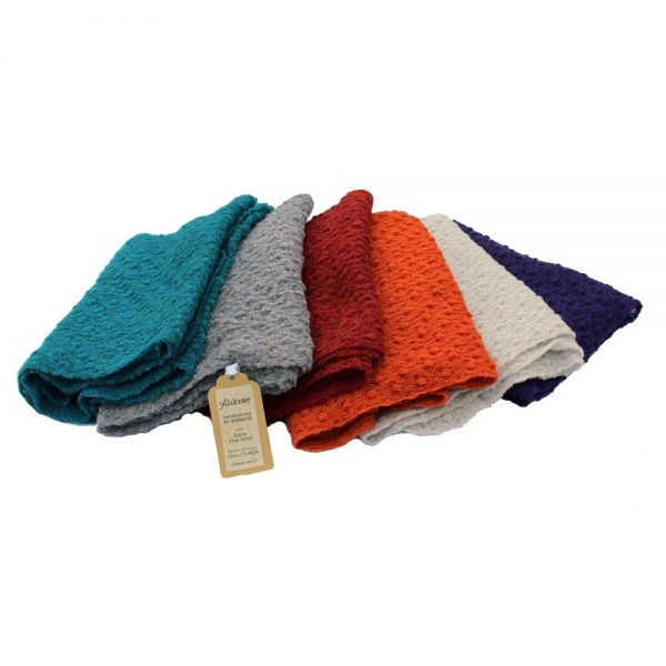 alpaca wool scarves, variety of colours, handloomed in Ireland