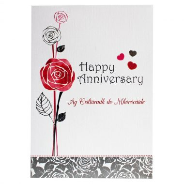 Happy Anniversary card with Irish and English wording, made in Ireland
