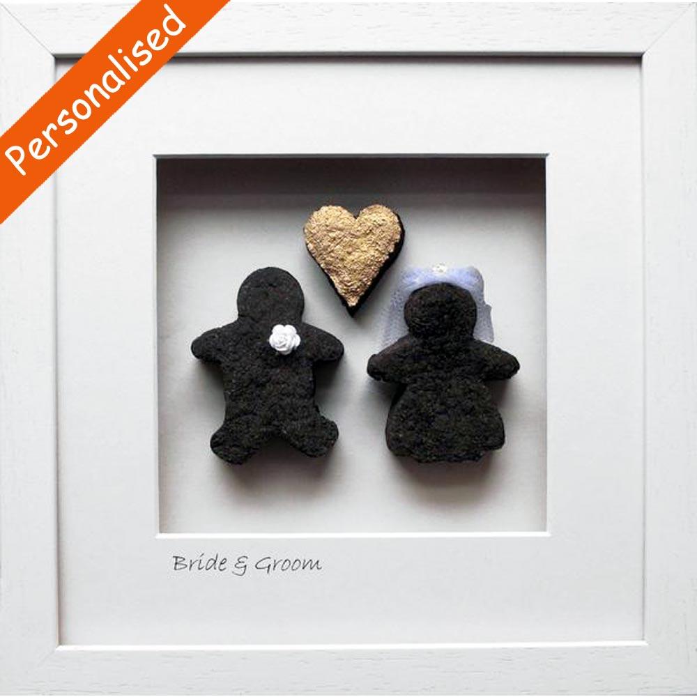 'Bride & Groom Gold Heart' Framed Irish Turf ☘ Totally