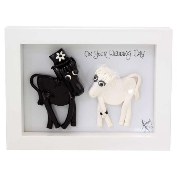 Bride and groom happy horses wedding gifts